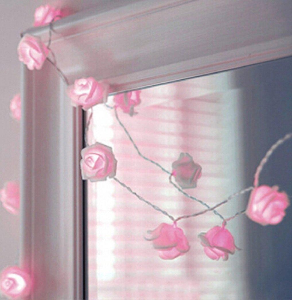 NYKKOLA 20 LED Battery Operated String Flower Rose Fairy Light Wedding Room Garden Christmass Decor (Pink)