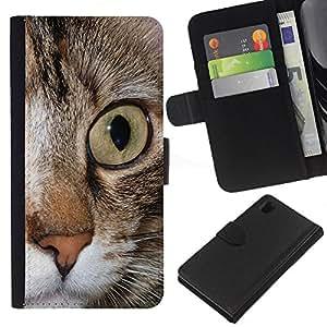 Maine Coon Eye Feline Pet - la tarjeta de Crédito Slots PU Funda de cuero Monedero caso cubierta de piel Sony Xperia Z1 L39
