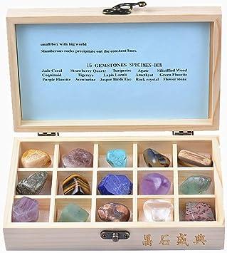 Clicke Muestra De Gemas Minerales Minerales Piedras Preciosas para Regalo Coleccionables Diseño De Bricolaje (15 Piezas),A: Amazon.es: Deportes y aire libre