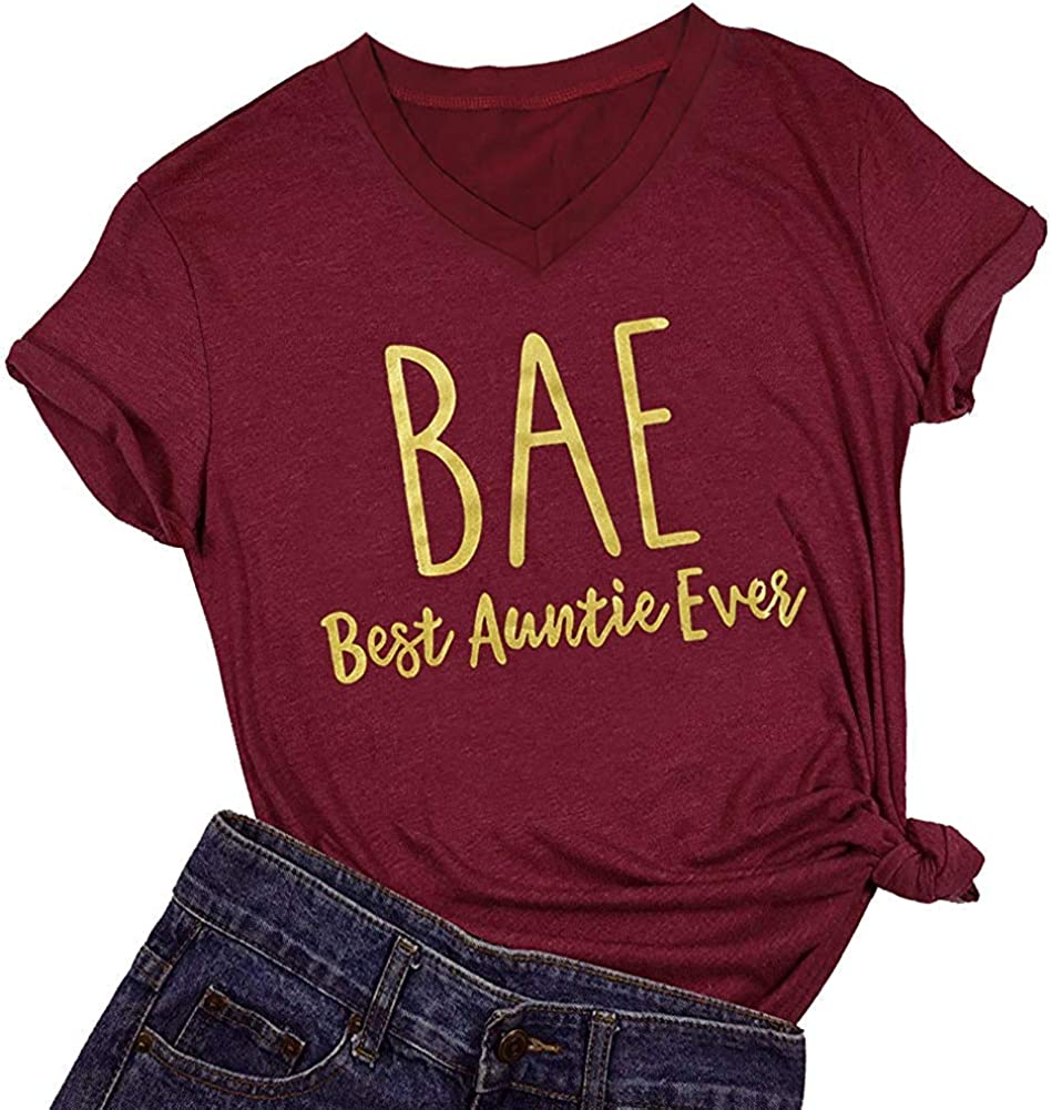 Bae Best Auntie Ever Auntie Shirt Top Women Short Sleeve V Neck Casual Graphic Print T Shirt Tee