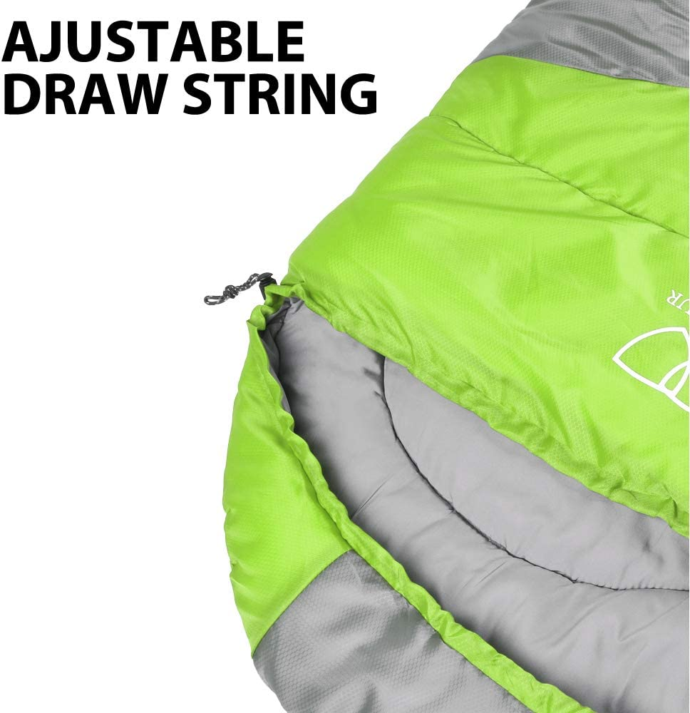 Gold Armour Sleeping Bags for Adults Kids Boys Girls Backpacking Hiking Camping Lightweight /& Waterproof Cold Warm Weather 4 Seasons Lime Green//Gray - Right Zipper Indoor Outdoor Use