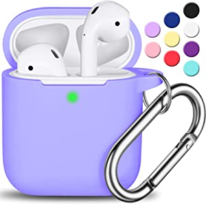 AirPods Case Cover with Keychain, R-fun Full Protective Silicone AirPods Accessories Skin Cover for Women Girl with Apple AirPods Wireless Charging Case,Front LED Visible-Lilac
