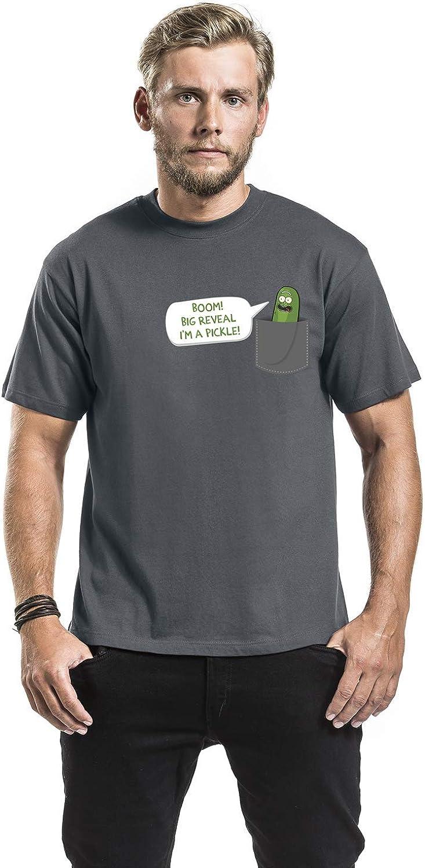 I-D-C Rick and Morty Camiseta para Hombre Pickle Rick Pocket Big Reveal Cotton Grey