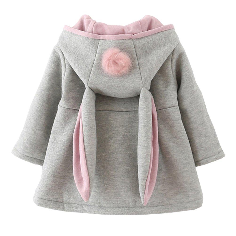 DORAMI Baby Girls Winter Autumn Cotton Warm Jacket Coat (3T, Gray)