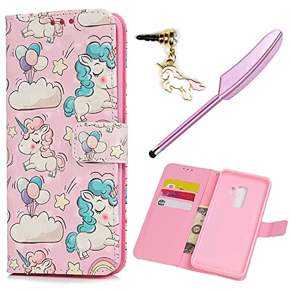 online store ab0a7 6265a Galaxy S9 Plus Case Wallet, Kawaii Colorful Painting Unicorns PU Leather  Folio Flip Wallet Case Kickstand Card Slots Shockproof Soft TPU Inner Shell  ...