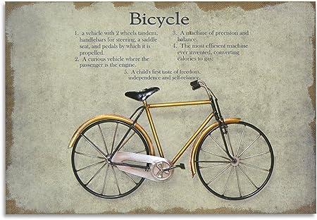 Moycor Decoración - Cuadro bicicleta amarilla madera/metal, 60x2,5x40: Amazon.es: Hogar