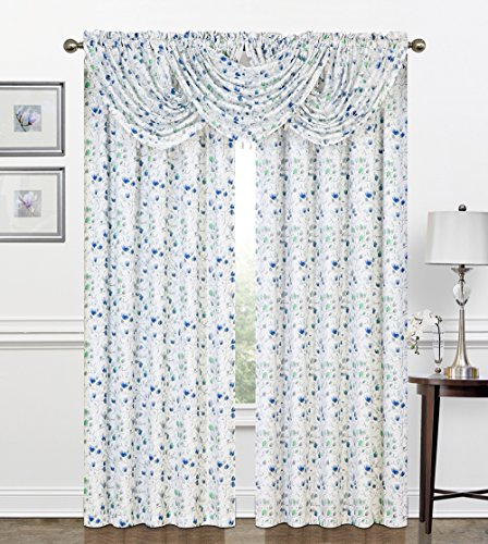 Regal Floral Valance - Regal Home Collections Zinnia printed Botanical Crepe Window Panel 52-Inch X 84-Inch, Blue