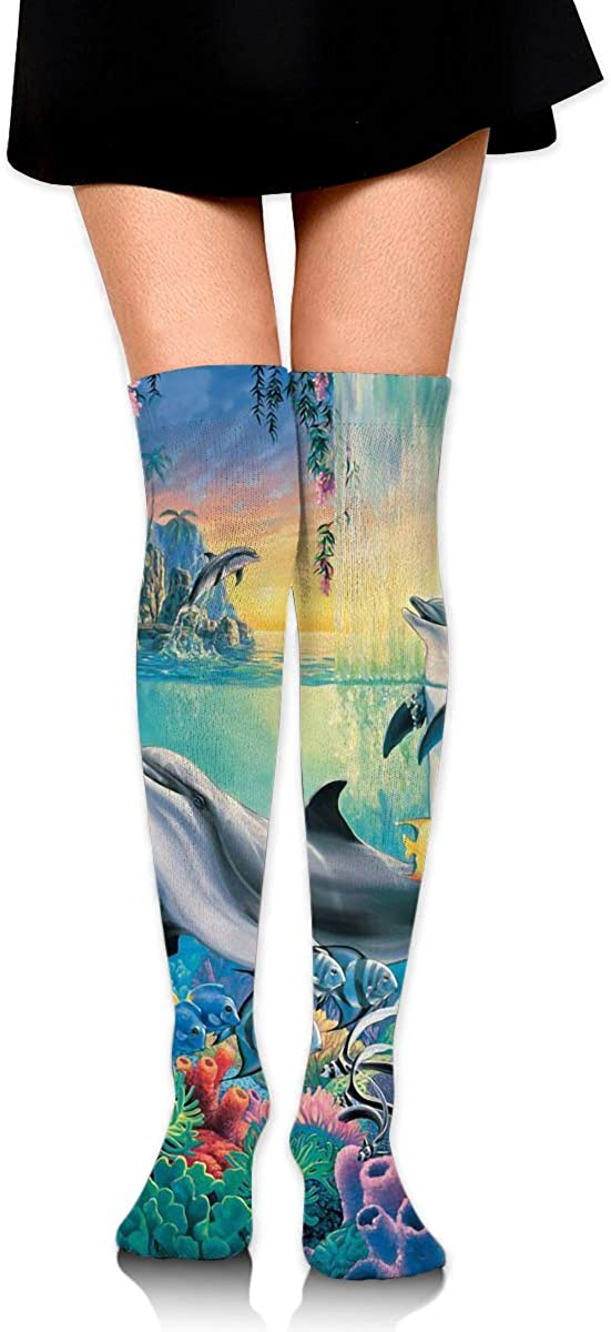 Dolphins And Fish Long Socks For Women Best For Pregnancy And Travel 2 Pairs Womens Knee High Socks