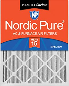 Nordic Pure 20x25x4 (3-5/8 Actual Depth) MERV 15 Plus Carbon AC Furnace Air Filter, Box of 1
