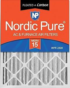 Nordic Pure 20x25x4 (3-5/8 Actual Depth) MERV 15 Plus Carbon AC Furnace Air Filter, Box of 1