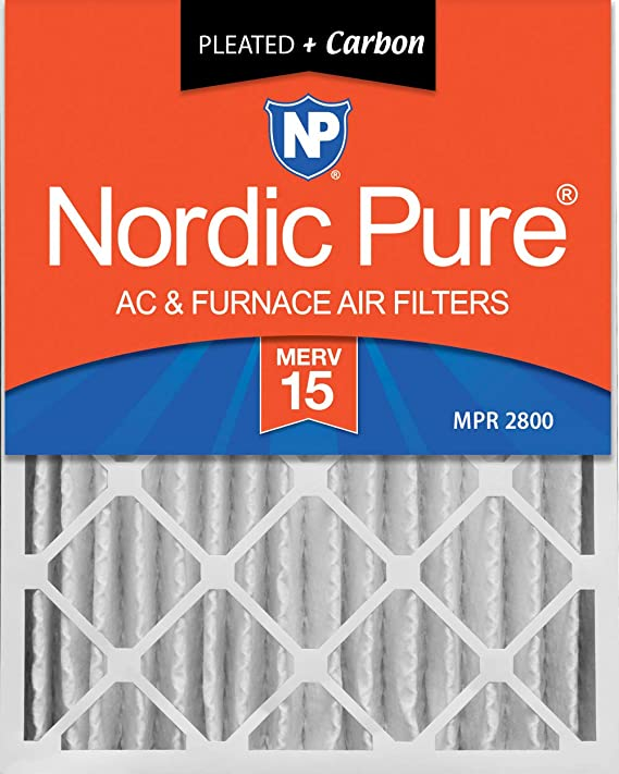 Nordic Pure 20x25x4 3-5//8 Actual Depth MERV 14 Pleated AC Furnace Air Filter Box of 2 20x25x4M14
