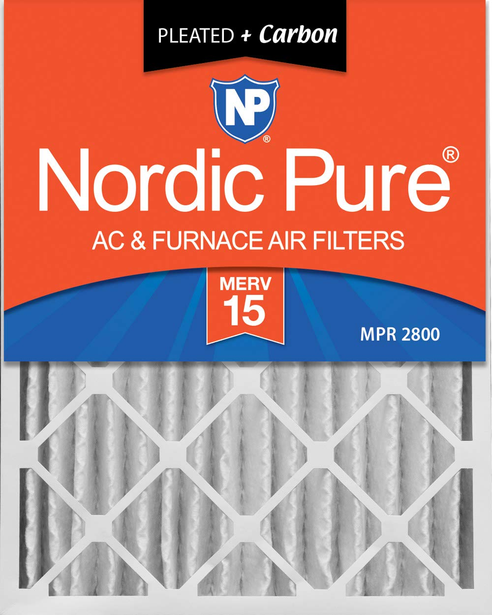 Nordic Pure 16x25x4 (3-5/8 Actual Depth) Plus Pleated AC Furnace Air Filters, 2 PACK, MERV 15 + Carbon, 2 PACK