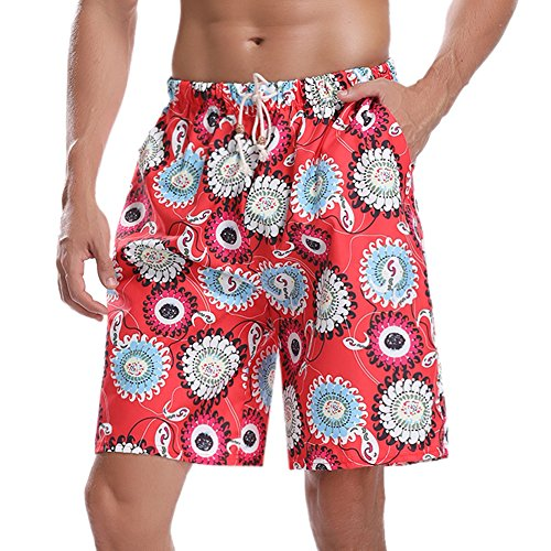 Hawiton Men's Beachwear Trunks Pattern Swim Shorts Quick Dry Board Swimwear