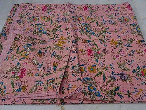 Sophia Art Indian Bird of Paradise Print King Size Kantha Quilt Kantha Blanket Bed Cover King Kantha Bedspread Bohemian Bedding Kantha Blanket Throw (Baby ()