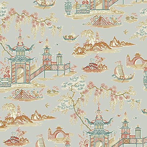(York Wallcoverings WC7550 Waverly Classics II Peaceful Temple Removable Wallpaper Metallics)