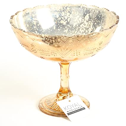 Amazon.com: Koyal Wholesale Compote Bowl Centerpiece Mercury Glass ...