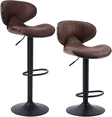 SUPERJARE Set of 2 Adjustable Bar Stools, Swivel Barstool Chairs with Back, Pub Kitchen Counter Height, Retro Brown