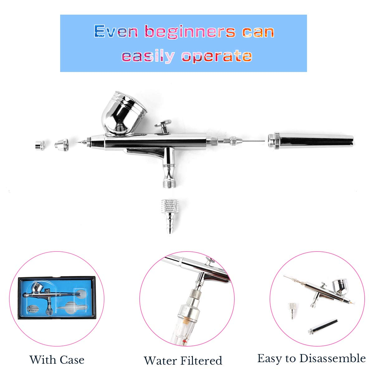 Craft Airbrush Kit,Fy-Light Dual-Action Air Brush Set with Mini Compressor 0.3mm Needle 7CC Cup /& Cleaning Kit for Makeup,Nail Tattoo Hobby Cake Decorating