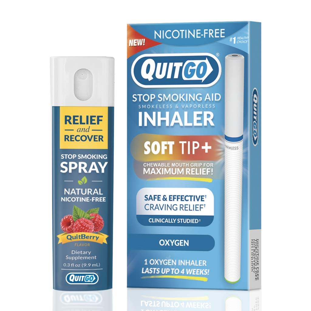 QuitGo Dual Support Quit Kit with Smoke-Free Soft Tip Inhaler, Herbal Relief & Recover Spray to Help Stop Smoking (Dual Support Kit, Oxygen) by QuitGo