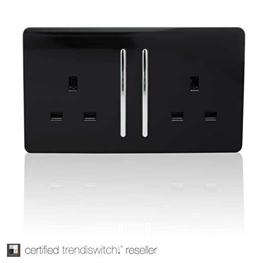 Trendi Switch 2 Gang Artistic Modern Glossy 13 Amp Electrical Long Switched Plug Socket Black