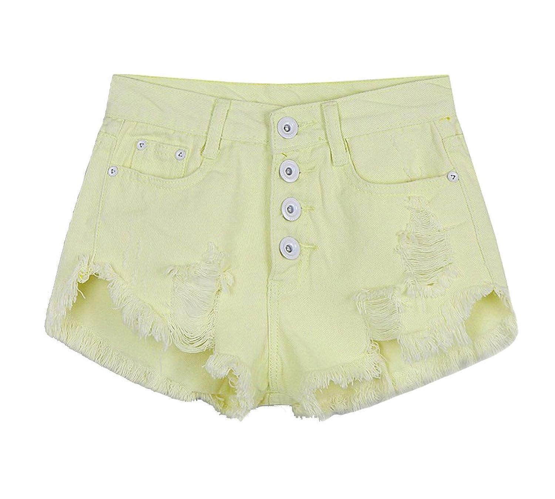Dolpind Womens High Waist Tassel Denim Shorts Cut-Off Jeans Shorts
