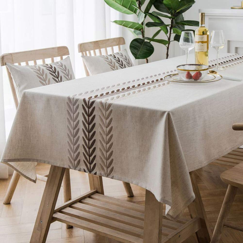 Amzali Water Proof Table Cloth Elegant Embroidery Leaf Pattern Wrinkle Free Heavy Weight Cotton Linen Tablecloth Decorative Fabric Table Cover for Outdoor and Indoor (Rectangle,53 x 102 Inch) by Amzali