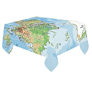 Unique Debora Custom Tablecloth Cover Cotton Linen Cloth World Map With Labeling For Dining Room, Tea Table, Picnics, Parties DT-14