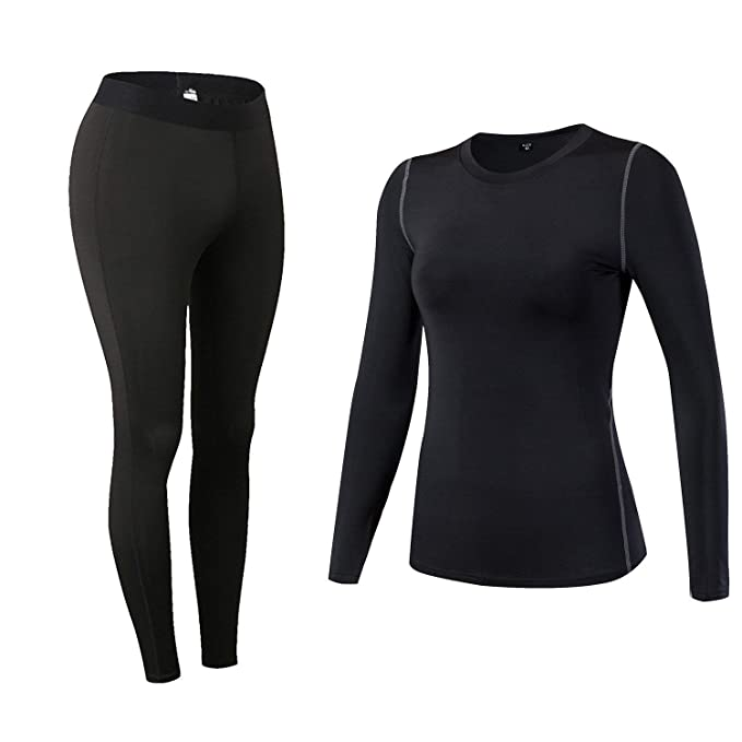 90f0d7f5d22e9 Minghe Womens Compression Shirts and Pants Base Layer Tops and Leggings  Yoga Running Tights Black