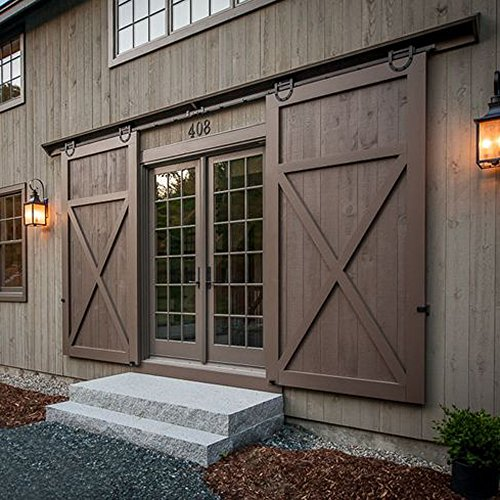 Hahaemall 12FT Black Wheel Country American Style Horseshoe Barn Wood Steel Sliding Double Door Hardware Track Roller Hanging Closet Room Set