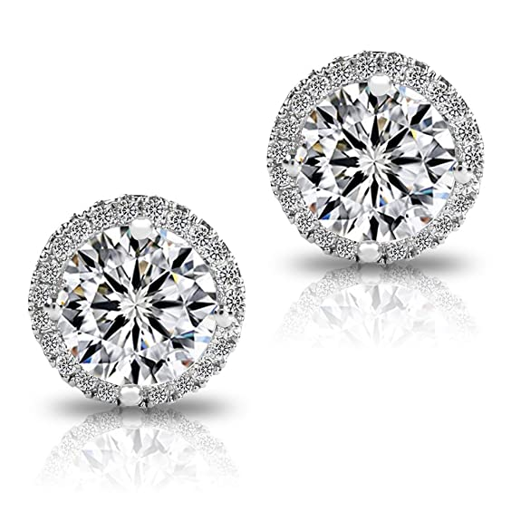 Platinum And Rose Gold Plated Sparkling Round Cubic Zirconia CZ 10mm Halo Stud Earrings With Silver Post. rSEN2yr2