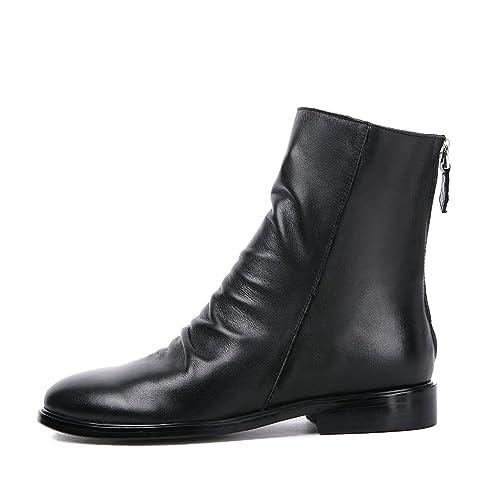 Darco \u0026 Gianni Women\u0027s Slouchy Low Block Heel Ankle Boots Back Zipper  Ladies Leather Casual Short Booties