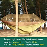 Double Camping Hammock With Mosquito Net, 10ft Hammock Tree Straps & 12KN Carabiners | Easy Assembly, Lightweight, Portable & Durable | For Camping, Garden, Backpacking, Survival, Travel & More