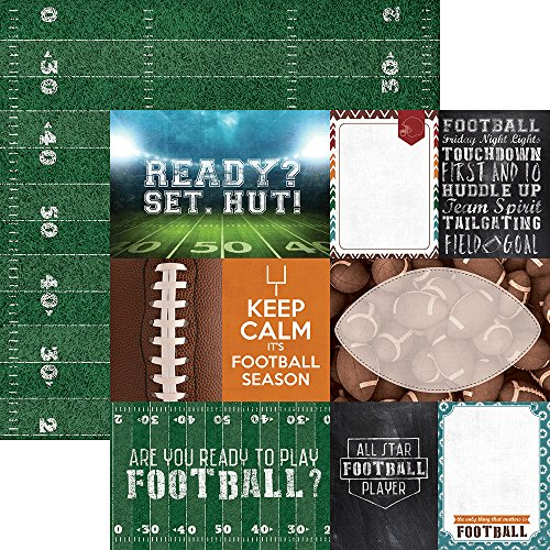 Paper House Productions P-2055E Tags Football Double-Sided Cardstock, 12
