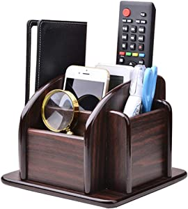 YCOCO Wood Office Supplies Desk Organizer Rack, Rotating Remote Control Holder Pen Pencil Holder 6 Compartments Desktop Storage Organizer