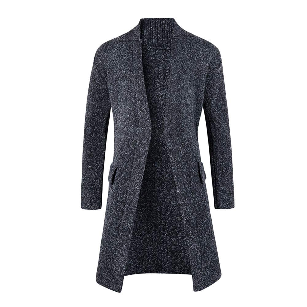 Mens Autumn Winter Solid Long Sleeve Jersey Knit Cardigan Coat Top Blouse Trench Coat Men Big and Tall