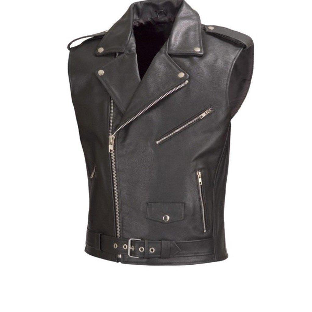 Men Motorcycle Biker Leather Vest Classic Style V111 (M)