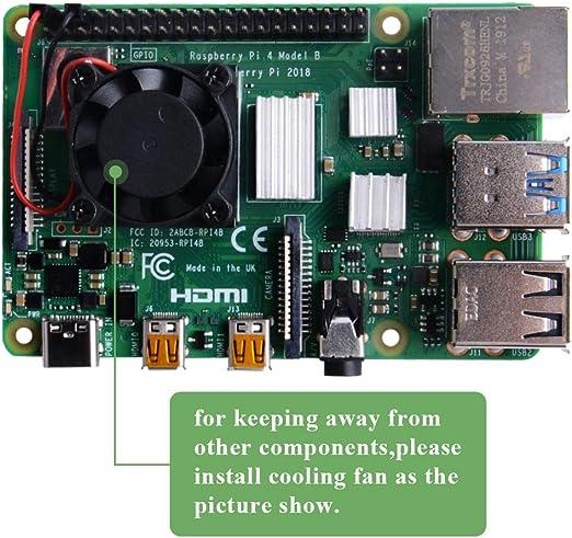 GeeekPi Raspberry Pi 4 Ventilador, Raspberry Pi Ventilador con ...