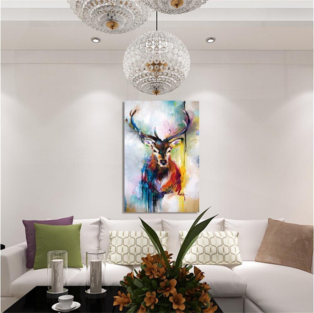 ZXP Acryl GemäLde Elk, öLgemäLde Auf Leinwand Handgemalt, Moderne Kunst Wandbild Wohnzimmer Wand Dekoration 120×60Cm