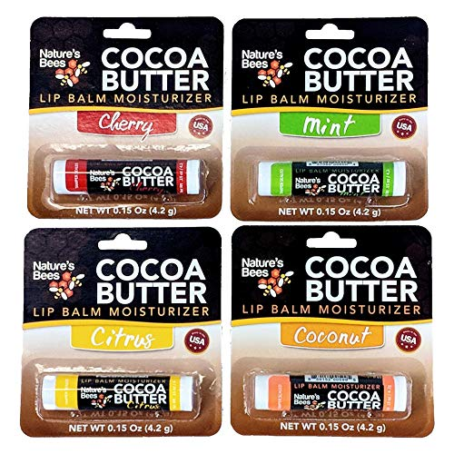 Nature's Bees Cocoa Butter Lip Balm, Made in The U.S.A. with Beeswax, Shea and Cocoa Butters, Coconut Oil, Vitamin E, and Sunflower Oil, (4) 0.15 oz Tubes - Cherry, Coconut, Mint, and Citrus Flavors -