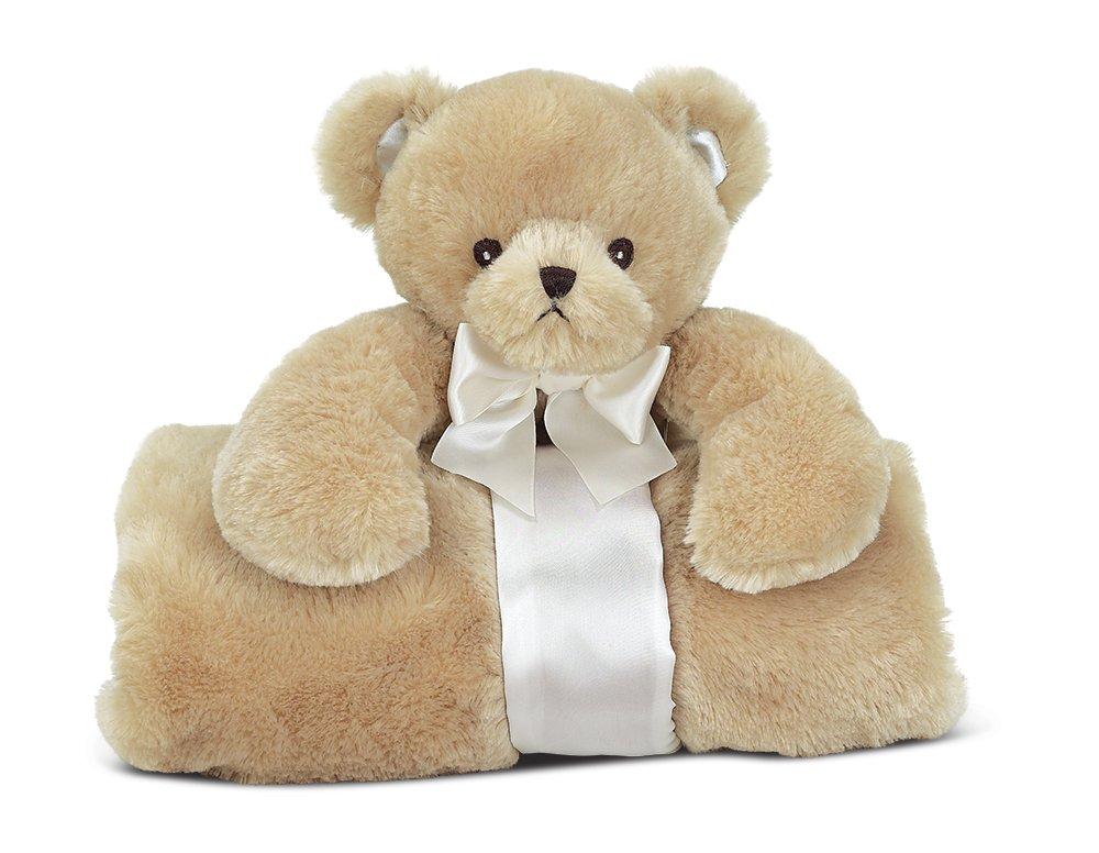 Bearington Baby Lil' Teddy Cuddle Me Sleeper, Tan Teddy Bear Large Size Security Blanket, 28.5'' x 28.5''