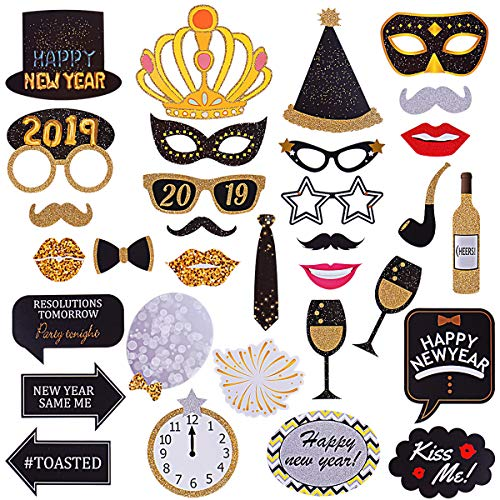 32Pcs Happy New Year Photo Booth Props- 2019 New Year Eve Party Pose Sign, New Year Countdown Party Photo Props