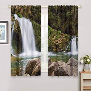 DIMICA Room Darkened Curtain Waterfall Photo of Mother and Baby Waterfalls by The Mountain Side with Moss on Rocks Print Living Room Decor Blackout Shades W108 x L84 Inch Green and Brown