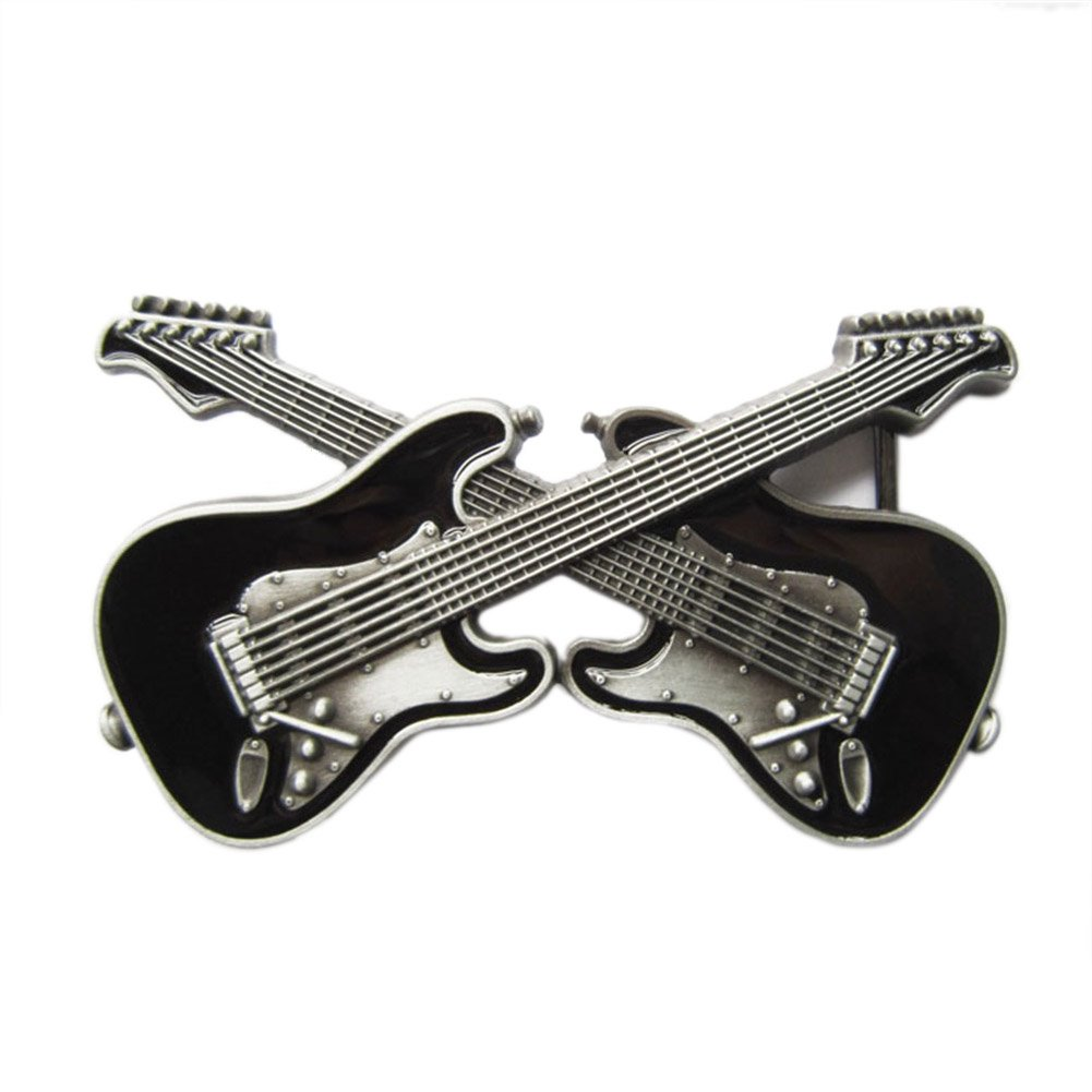New Vintage Black Enamel Cross Guitars Music Belt Buckle