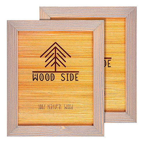 e Frame 8x10 - Brown Grey Set of 2-100% Natural Eco Solid Wood and High Definition Real Glass for Wall Mounting Photo Frames ()