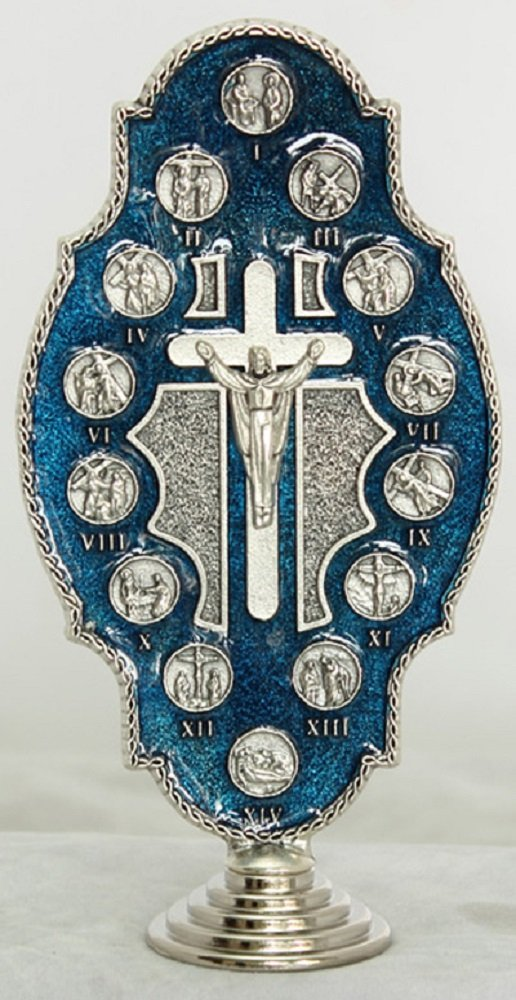 Blue Stations of the Cross, metal,5 inches. Made in Italy.