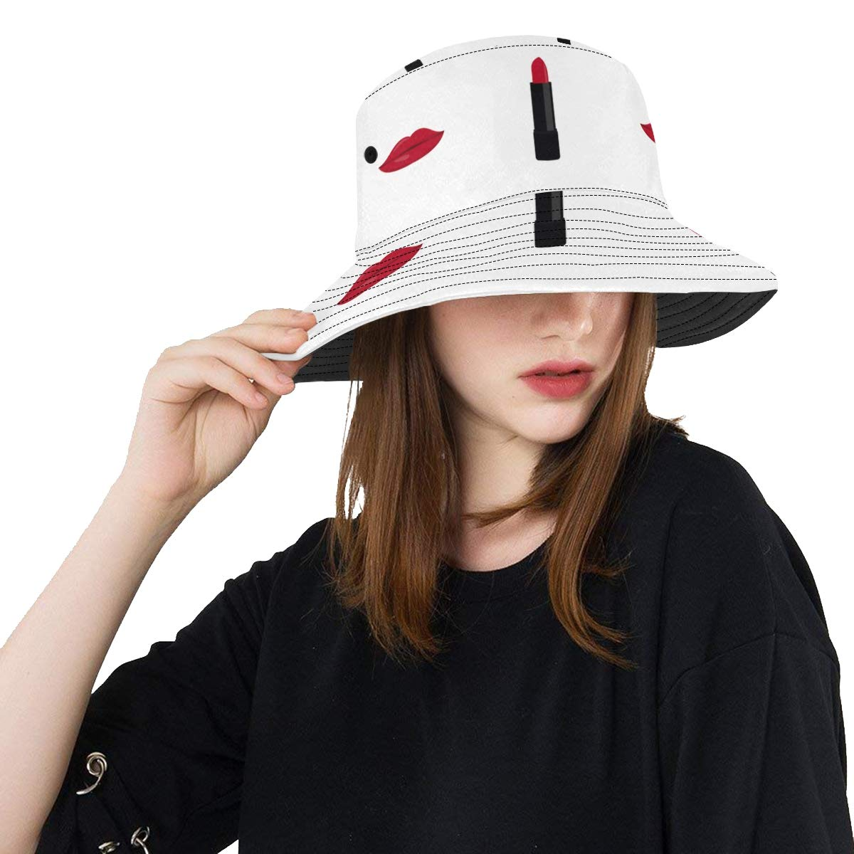 Red Kiss and Lipstick Girl Favorite New Summer Unisex Cotton Fashion Fishing Sun Bucket Hats for Kid Teens Women and Men with Customize Top Packable Fisherman Cap for Outdoor Travel