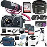 Canon EOS M6 Digital Camera Video Creator Kit W/EF-M 15–45mm f/3.5–6.3 IS STM Lens + Canon M6 Deluxe Accessory Bundle - M6 Canon Mirrorless Camera Includes EVERYTHING You Need To Get Started