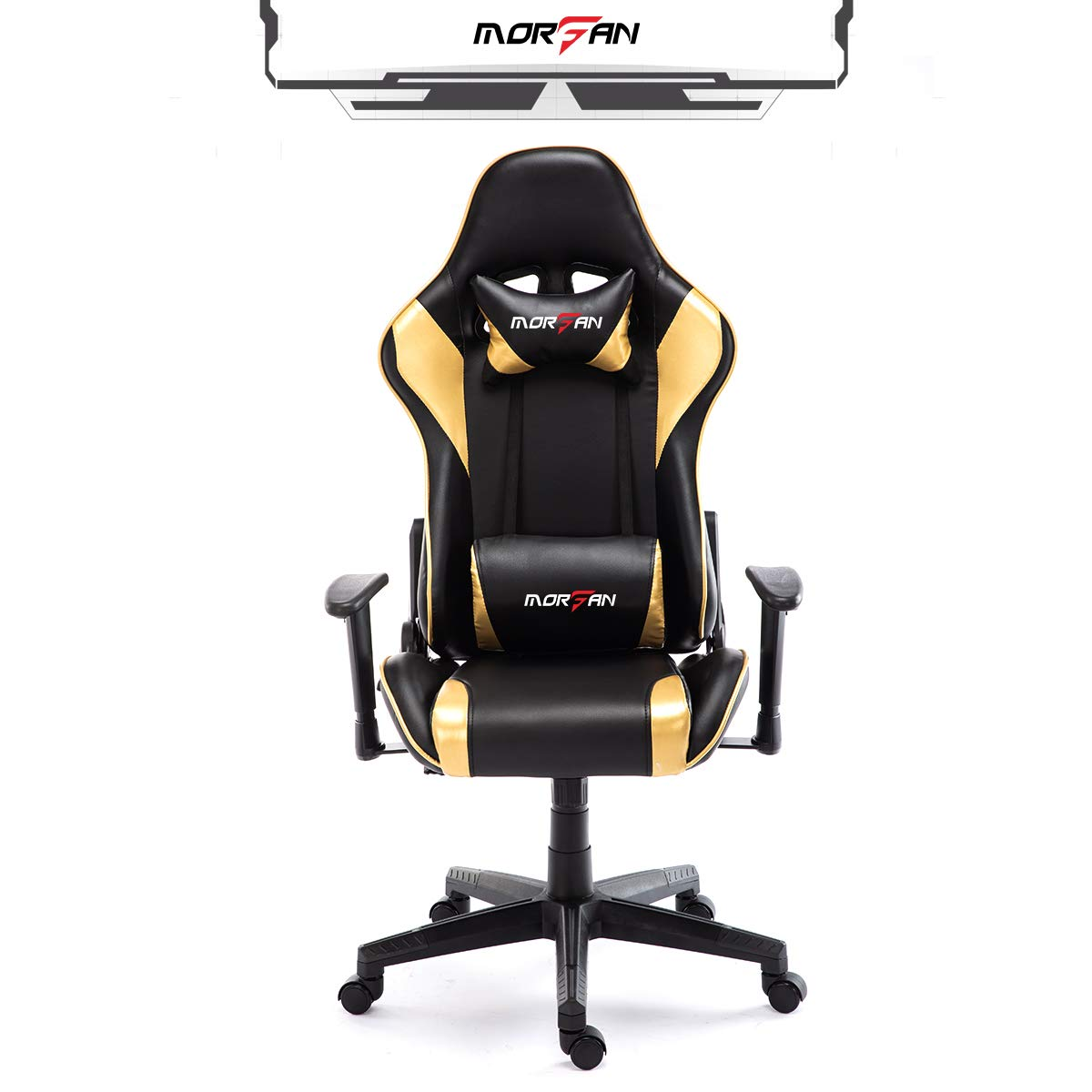 Morfan Swivel Office Gaming Chair PU Leather Racing Style Computer Chair Lumbar Pillow with Massage F Series Black Gold