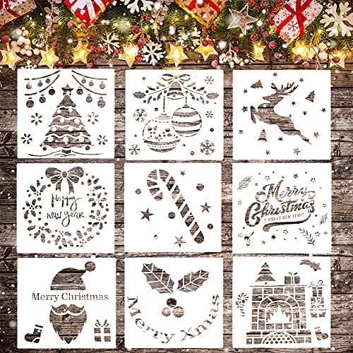 Koogel 9 PCS Christmas Stencils, 9 inch Christmas Templates Christmas Painting Stencils Plastic Christmas Stencils for DIY Card Craft Art Drawing Painting Spraying Window Glass Wood Airbrush Walls Art