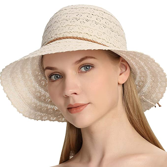 0c94d89f6 Roniky Summer Sun Beach Hats for Women UV UPF50 Travel Foldable Packable  Cotton Wide Brim Hat